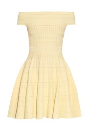 Alexander Mcqueen Off The Shoulder Knitted Mini Dress Yellow