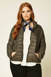 Forever 21 Plus Size Puffer Jacket Olive