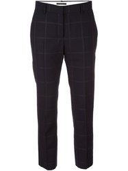Paul Smith Cropped Checked Stitching Trousers Black