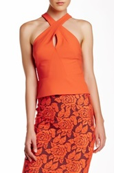 Nicole Miller Techy Crepe Halter Blouse Orange