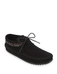 Minnetonka Mosaic Embroidered Suede Moccasins Black