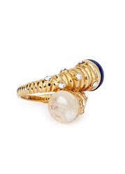 Isharya Serpent Orb Gold Plated Lapis Ring