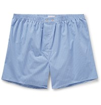 Derek Rose Gingham Cotton Boxer Shorts Blue
