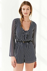 Kimchi And Blue Kimchi Blue Striped Knot Front Romper Navy