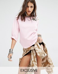 Milk It Vintage Boxy Sweatshirt With 3 4 Sleeves And Delicate Floral Embroidery Pink