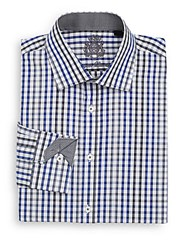 English Laundry Regular Fit Gingham Dress Shirt Blue