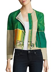 Akris Long Sleeve Printed Moto Jacket Multicolor