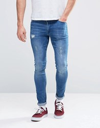 Asos Extreme Super Skinny Jeans With Mega Rips Mid Blue