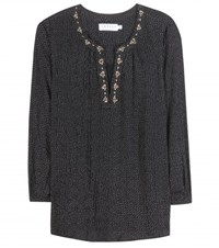Velvet Aleta Embroidered Printed Blouse Black