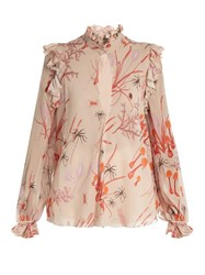 Giambattista Valli Ruffled Mushroom Print Silk Georgette Blouse Light Pink