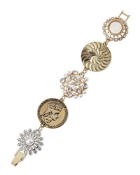 Lydell Nyc Mixed Floral And Disc Pearly Crystal Station Bracelet