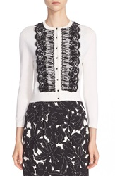 Oscar De La Renta Hand Beaded Lace Trim Wool And Silk Cardigan Ivory Black