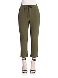 Saks Fifth Avenue Red Cropped Drawstring Pants Dark Green