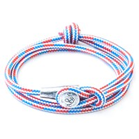Anchor And Crew Dundee Rope Silver Braceletred White Blue