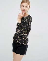 Paisie Relaxed Fit Floral Top In Floral Print Multi