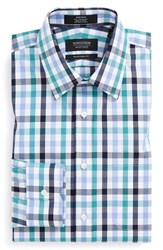 Men's Big And Tall Nordstrom Traditional Fit Non Iron Check Dress Shirt Teal Peacock