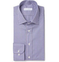 Etro Blue Slim Fit Checked Cotton Shirt