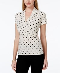 Charter Club Short Sleeve Crossover Wrap Top Iconic Print