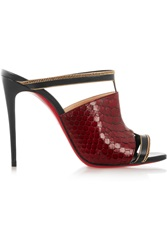 Christian Louboutin Akenana 100 Python And Leather Mules