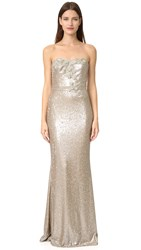Marchesa Strapless Sequin Gown Gold