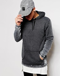 Asos Longline Hoodie With Burn Out And Distress Grey