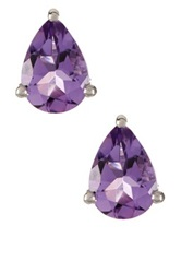 Olivia Leone Sterling Silver Amethyst Teardrop Stud Earrings Purple