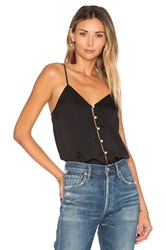 L'academie The V Neck Button Cami Black