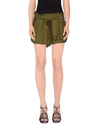 Pink Memories Trousers Shorts Women Military Green