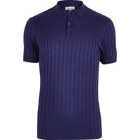River Island Mens Purple Ribbed Muscle Fit Polo Shirt