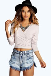 Boohoo Wrap Front Long Sleeve Top Stone