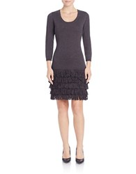 Calvin Klein Long Sleeve Knit Fringe Dress Charcoal