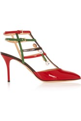 Charlotte Olympia Moma Swarovski Crystal Embellished Patent Leather Pumps Red