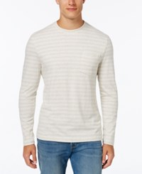 Club Room Men's Striped Long Sleeve Shirt Winter Ivory