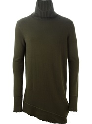 Frayed Edge Roll Neck Sweater Green