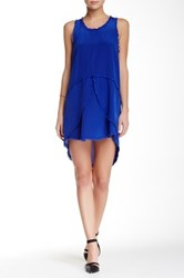 Madison Marcus Frayed Edge Layered Silk Dress Blue