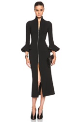 David Koma Short Peplum Sleeve Zip Dress In Black