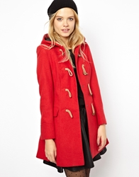 Asos Hooded Duffle Coat Red