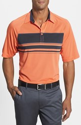 Men's Cutter And Buck 'Canby Stripe' Drytec Golf Polo Daybreak Orange