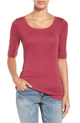 Caslonr Petite Women's Caslon Ballet Neck Cotton And Modal Knit Elbow Sleeve Tee Burgundy Beauty
