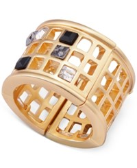 T Tahari Gold Tone Scattered Crystal Grid Ring