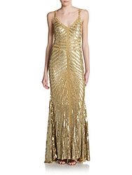 Theia Toni Chevron Pattern Embellished Metallic Gown Gold