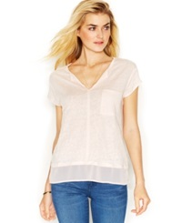 Sanctuary Short Sleeve Layered Look Top Silver Pink