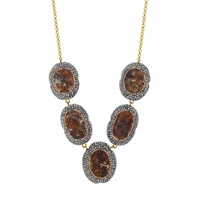 Soru Jewellery Aventurine Collar Necklace Brown