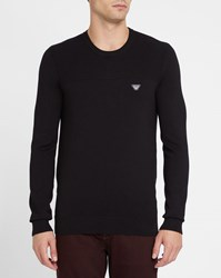 Armani Jeans Black Double Knit Chest Logo Round Neck Sweater