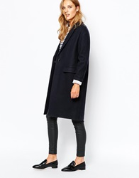 Sessun Harry Longline Coat In Navy