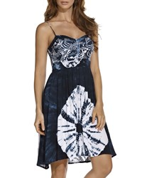 Ondademar Sleeveless Sweetheart Batik Tie Dye Dress White Blue