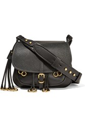 Prada Embellished Leather Shoulder Bag Black