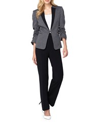 Tahari By Arthur S. Levine Petite Herringbone Jacket And Pants Suit Grey