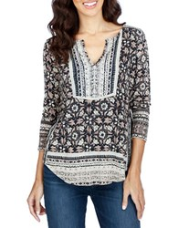 Lucky Brand Printed Cotton Blend Tunic Black Multi