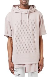 Topman Men's Aaa Collection Slashed Oversize Short Sleeve Hoodie